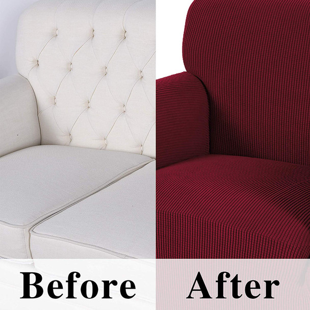 Jacquard  Polyester Spandex Fabric Box  Cushion Sofa Slipcovers-Wine Red