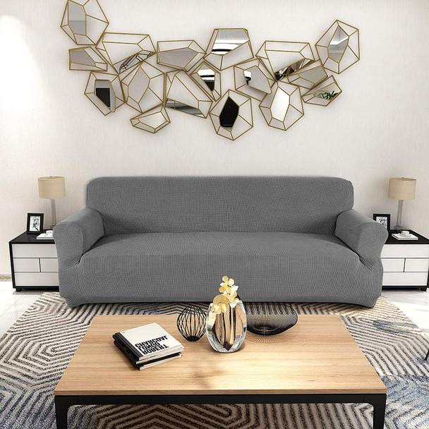 Jacquard  Polyester Spandex Fabric Box  Cushion Sofa Slipcovers-Light Grey
