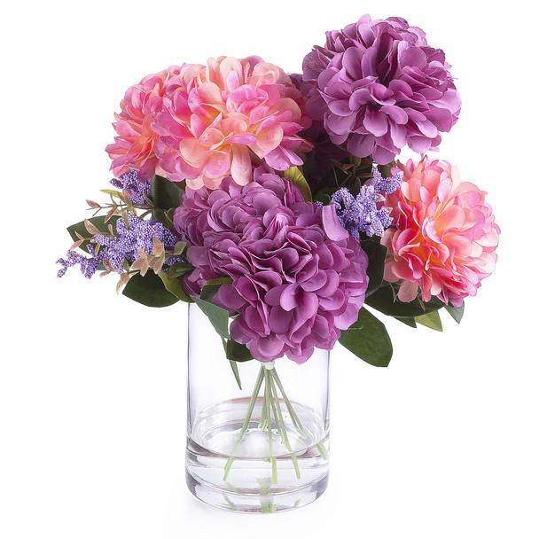 225 & 7 Heads Purple Pink Mixed Dahlia Silk Flower Arrangement in Glass Vase with Faux Water