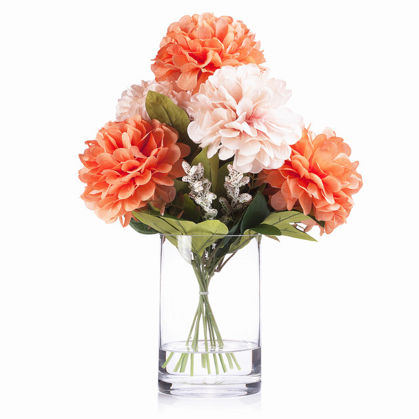 225 & 7 Heads Orange Pink Mixed Dahlia Silk Flower Arrangement in Glass Vase with Faux Water
