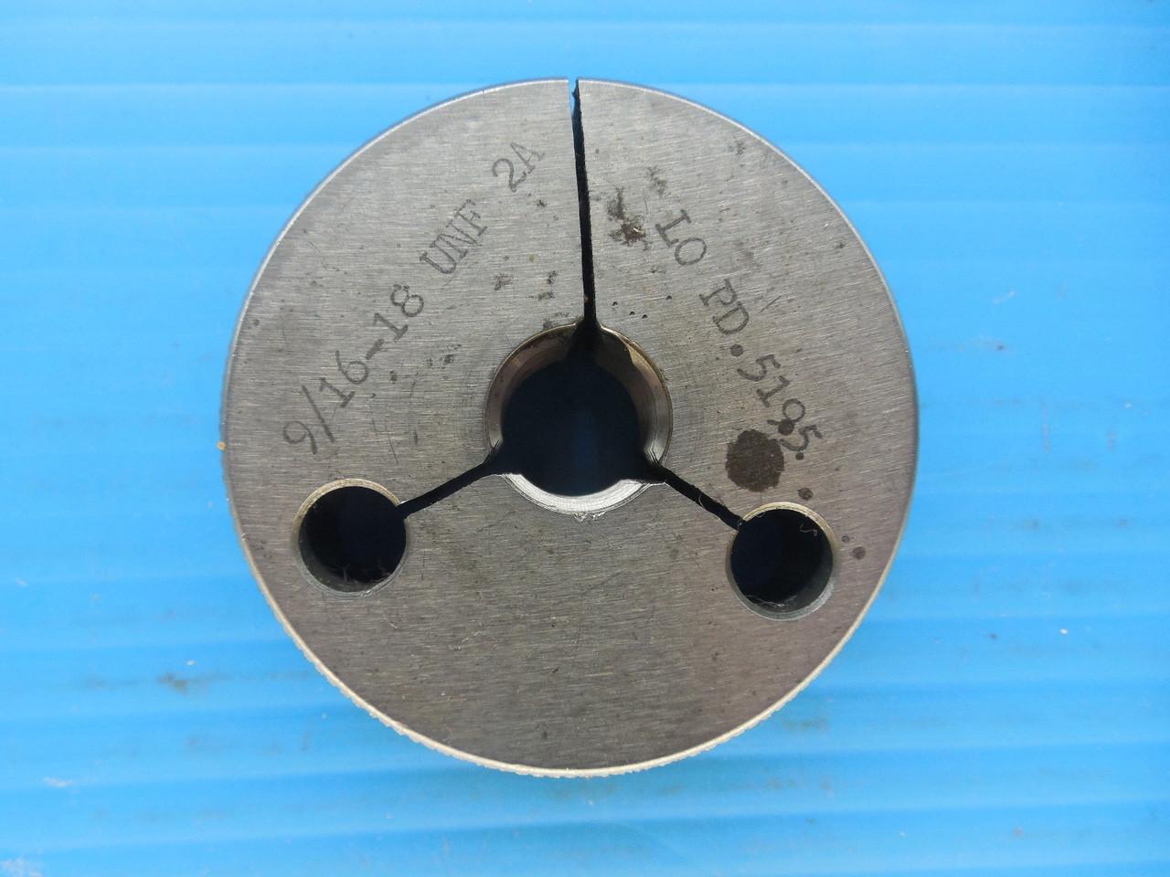 NEW 9//16 18 UNF 2B THREAD PLUG GAGE .5625 GO NO GO P.D./'S = .5264 /& .5323 TOOLS