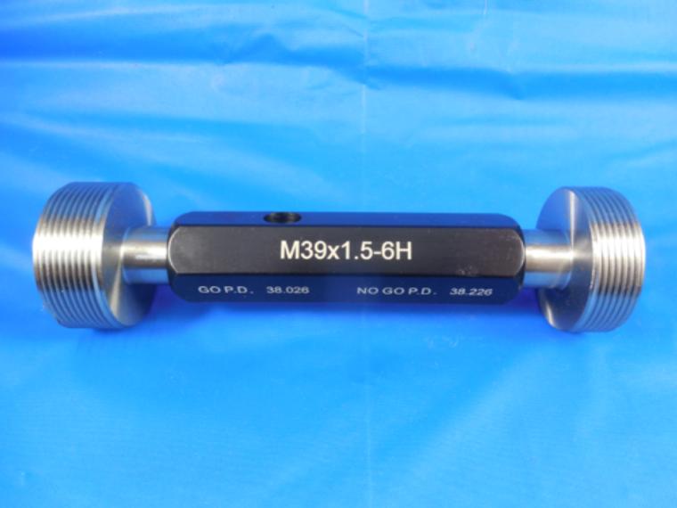 NEW M39 X 1.5 6H METRIC THREAD PLUG GAGE 39.0 GO NO GO P.D.'S = 38.026 & 38.226