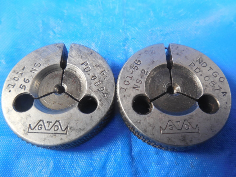 .101 56 NS 2 THREAD RING GAGES .1010 GO NO GO P.D.'S = .0894 & .0874 QUALITY