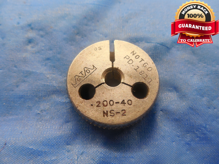 """.200 40 NS 2 THREAD RING GAGE .2 .20 NO GO ONLY P.D. = .1811 UNS-2 .200""""-40 TOOL"""