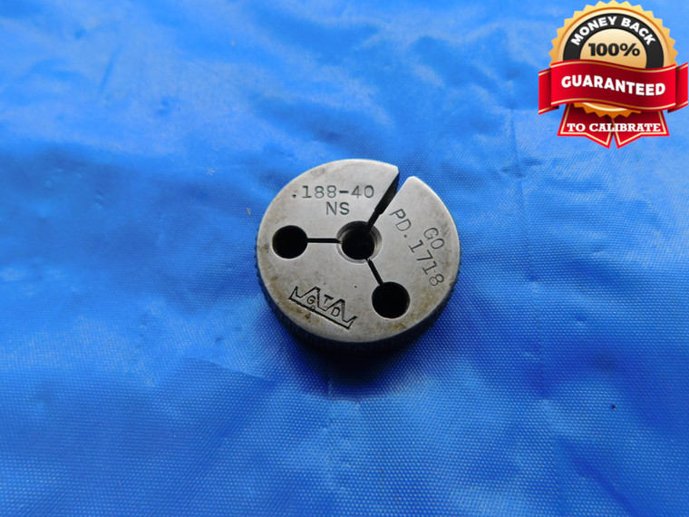 """.188 40 NS THREAD RING GAGE GO ONLY P.D. = .1718 .1880 .188""""-40 UNS 3A - DW10587RD"""