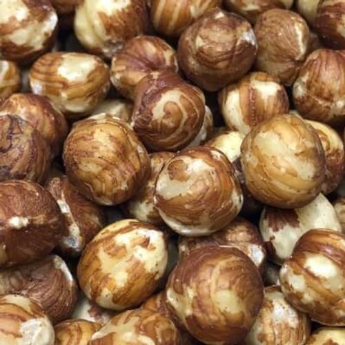 Shelled (no shell) natural raw hazelnuts.