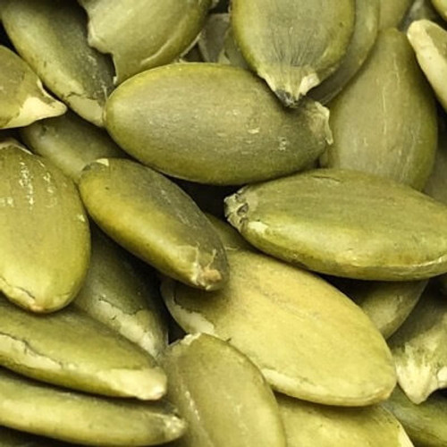 Raw pepitas (shelled pumpkin seeds). Sold by the lb.