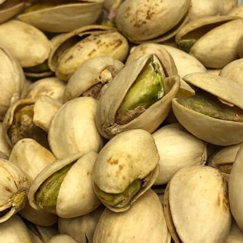 Dry roasted in shell pistachios. No salt added (unsalted). Sold by the lb.