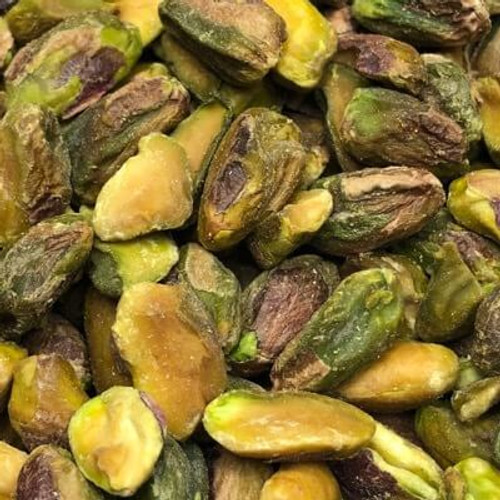 Dry roasted pistachio kernels. No Shell. Sold by the lb. No salt added (unsalted).