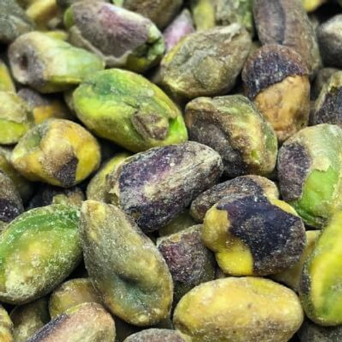 Dry Roasted Salted California pistachio kernels. Sold by the lb. No shell.