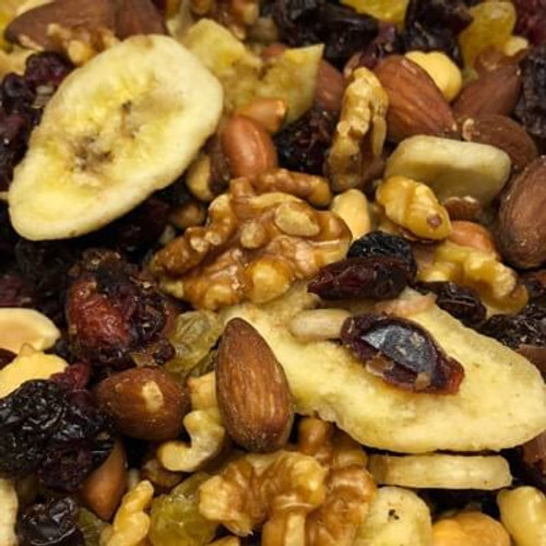 Cranberry mix. A nut & dried fruit trail mix. No salt added. All nuts roasted in natural coconut oil.