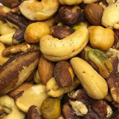 Deluxe Roasted (no salt) Shelled Mixed Nuts. No shell. All nuts roasted in natural coconut oil. Made fresh for great taste. Packed fresh for big smiles.