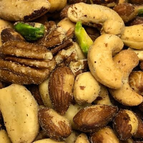 Salted deluxe mixed nuts. No shell. Sold by the lb. Nuts are roasted in natural coconut oil.
