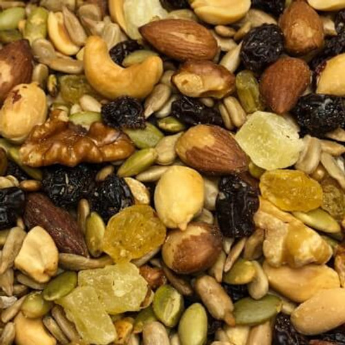 Classic trail mix. Assortment of nuts and dried fruit. No salt added. All nuts roasted in natural coconut oil. Sold by the lb. Made fresh for great taste. Packed fresh for big smiles.