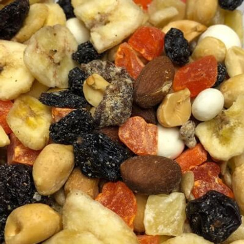 Tropical trail mix. Assortment of nuts, dried fruit, and yogurt covered items. Sold by the lb. All nuts are roasted in natural coconut oil. Made fresh for great taste. Packed fresh for big smiles.