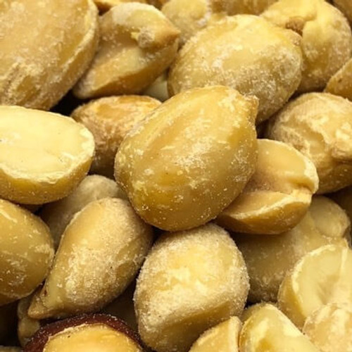 Salted peanuts. No shell. Blanched peanuts used. Sold by the lb. Made fresh for great taste. Packed fresh for big smiles.