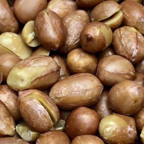 Roasted Spanish peanuts. No salt added. Spanish peanuts are roasted in natural coconut oil. Made fresh for great taste. Packed fresh for big smiles.