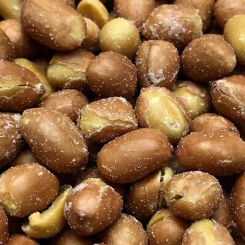 Salted Spanish Peanuts. No shell. Sold by the lb. Spanish peanuts are roasted in natural coconut oil. Made fresh for great taste. Packed fresh for big smiles.