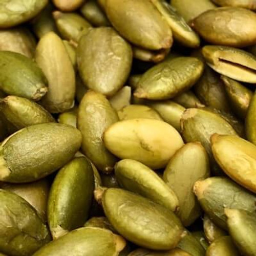 Roasted Pepitas (shelled pumpkin seeds). Sold by the lb. No salt added. Pepitas are roasted in natural coconut oil. Made fresh for great taste. Packed fresh for big smiles.