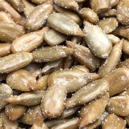 Salted sunflower seed kernels. No shell. Sunflower seeds roasted in natural coconut oil. Salt added. Sold by the lb. Made fresh for great taste. Packed fresh for big smiles.