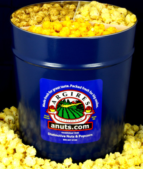 Gourmet Argires Popcorn Large Blue Gift Tin. 3.5 gallon size. Cheese or Cheese & Caramel Mix or all Caramel Popcorn. Chicago Downtown Style Quality. Made fresh for great taste. Packed fresh for big smiles.