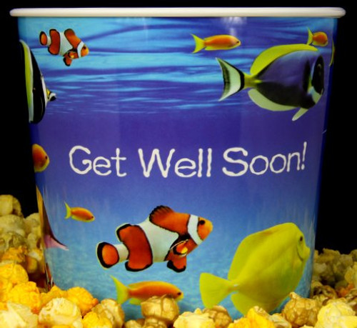 Gourmet Argires Popcorn Get Well Soon Gift Tub. 1 gallon size. Cheese or Cheese & Caramel Mix or all Caramel Popcorn. Chicago Downtown Style Quality. Made fresh for great taste. Packed fresh for big smiles.