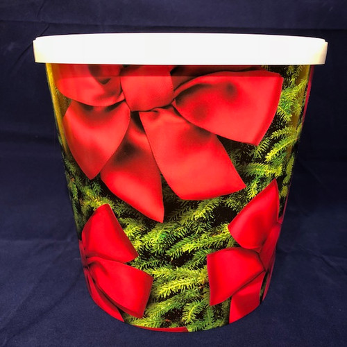 Gourmet Argires Popcorn Christmas Red Bow. 1 gallon size. Cheese or Cheese & Caramel Mix or all Caramel Popcorn. Chicago Downtown Style Quality. Made fresh for great taste. Packed fresh for big smiles.