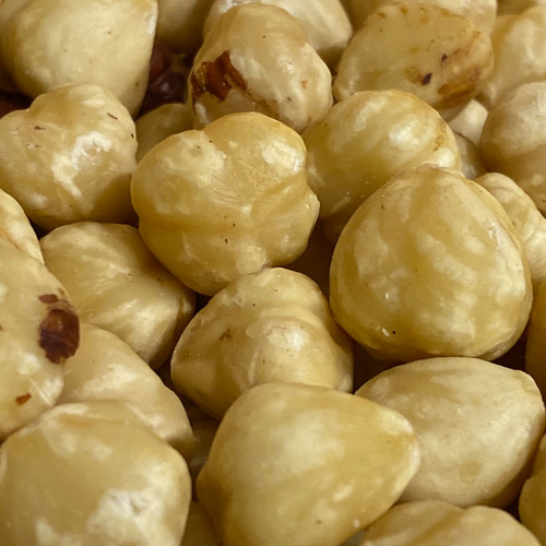 Shelled (no shell) natural raw blanch hazelnuts.