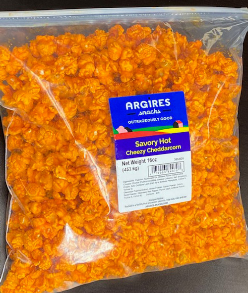 Argires Gourmet Savory Hot. 16 oz bag. Intensely Memorable. Chicago Downtown Style Quality. Made fresh for great taste. Packed fresh for big smiles.