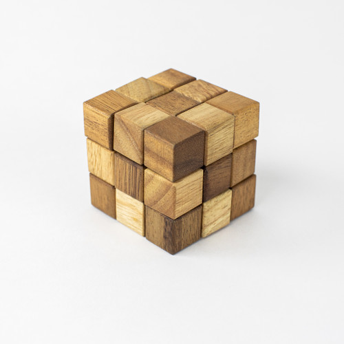 Wooden snake cube puzzle.