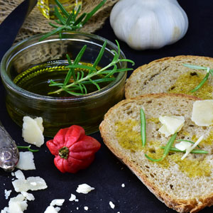 Olive oil with rosemary and  garlic makes a great dipping sauce for bread