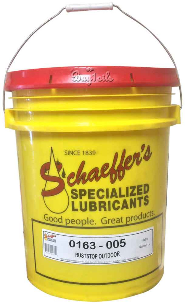 Schaeffer's RustStop Outdoor 163 is a solvent cutback, non-staining,  barium free, water-displacing rust preventive. 5 gallons
