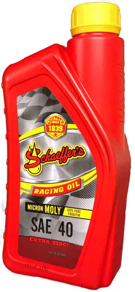 Schaeffer's Micron Moly® Racing Oil is engineered with the highest quality 100% paraffin base stocks, proven friction modifiers Micron Moly® and Penetro®, and a highly advanced proprietary performance racing formula additive package. 1 quart
