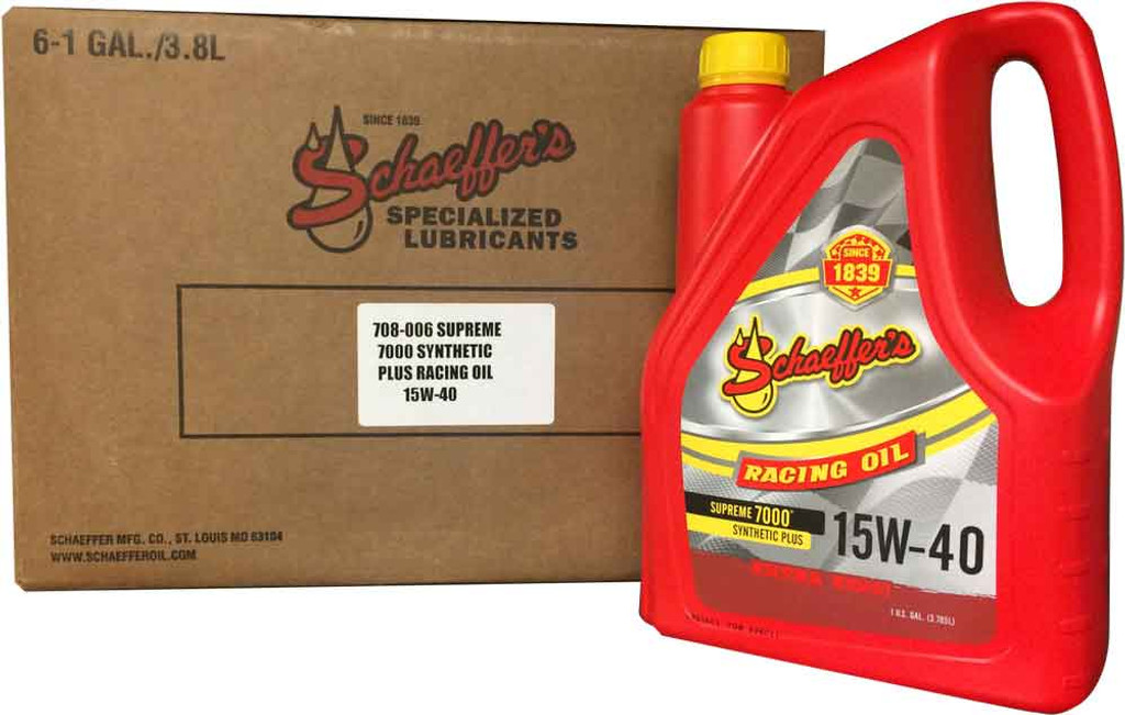 Schaeffer 0708-006 Supreme 7000 Synthetic Plus Racing Oil 15W-40 (6-Gallons)