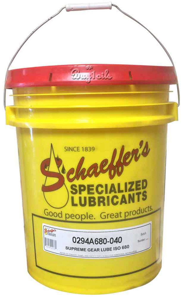 Schaeffer's 294 Supreme Gear Lube No Tack ISO 680 is a multi-purpose, thermally stable, thermally durable, para-synthetic gear lubricant recommended for use in all types of enclosed industrial and automotive gear drives where extreme pressure characteristics are needed. 40 lbs.