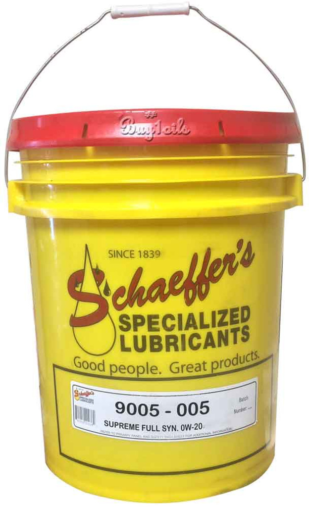 Schaeffer 9005-005 Supreme 9000 Full Synthetic Gasoline Engine Oil 0W-20 (5-Gallons)