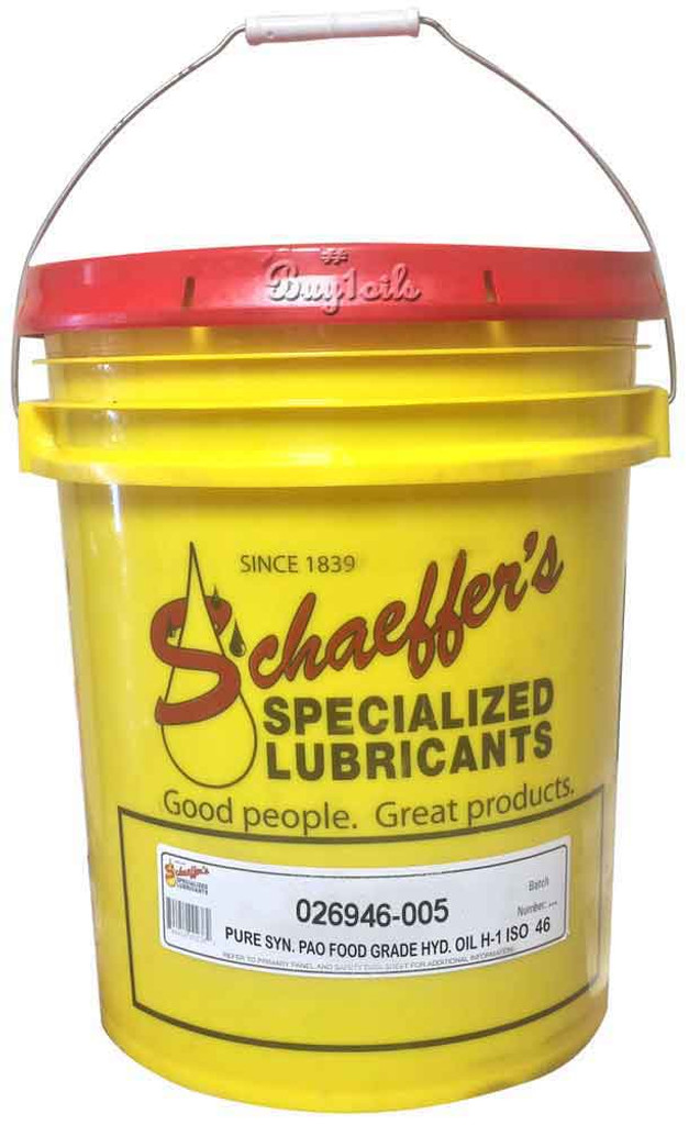 Schaeffer 026946-005 Pure Synthetic PAO Food Grade Hydraulic Oil H-1 ISO 46 (5-Gallon pail)