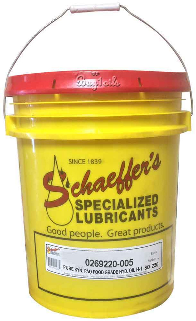Schaeffer 0269220-005 Pure Synthetic PAO Food Grade Hydraulic Oil H-1 ISO 220 (5-Gallons)