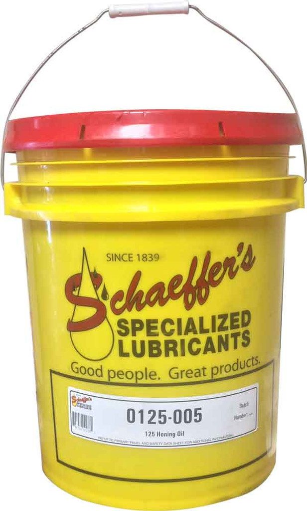 Schaeffer's 125 Honing Oil is a very low odor, chlorine free, heavy-duty, active sulfur base, low viscosity oil that is designed for the honing and super-finishing of ferrous and certain non-ferrous metals. 5 gallons