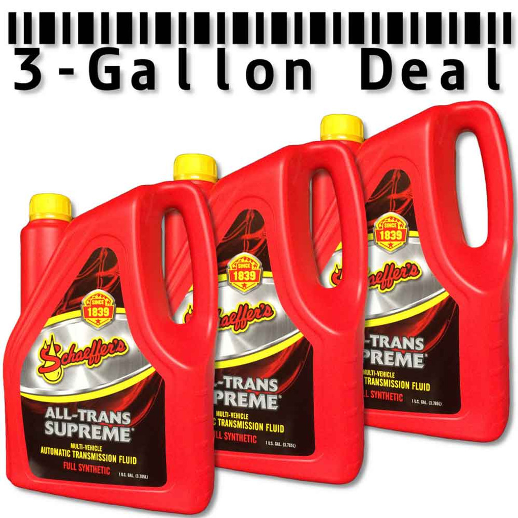 3 Gallon Deal. Schaeffer's 204SAT All-Trans Supreme® is formulated with a special blend of synthetic base oils, a highly shear stable viscosity improver and a multi-functional additive package. This unique blend creates a premium, full synthetic, multi-vehicle, automatic transmission fluid that significantly reduces transmission wear.