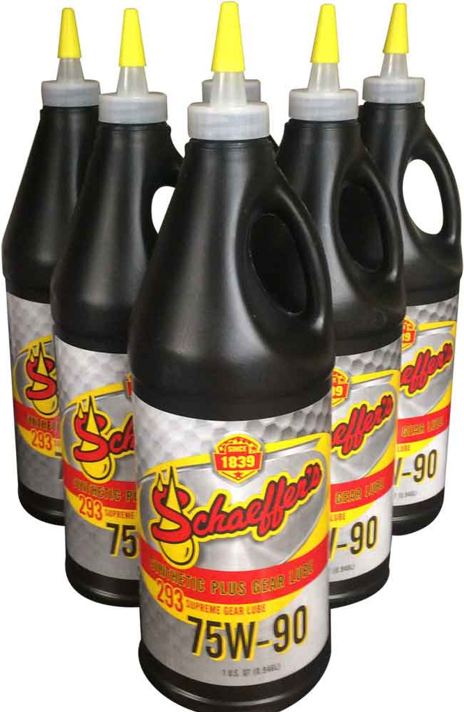 Schaeffer's 293 Supreme Gear Lube SAE 75W-90 provides strong protection against sludge, varnish and carbon deposits – even in high temperatures. This non-corrosive gear lube tenaciously sticks and clings to gears and bearings, resisting water and moisture. 6 QUARTS