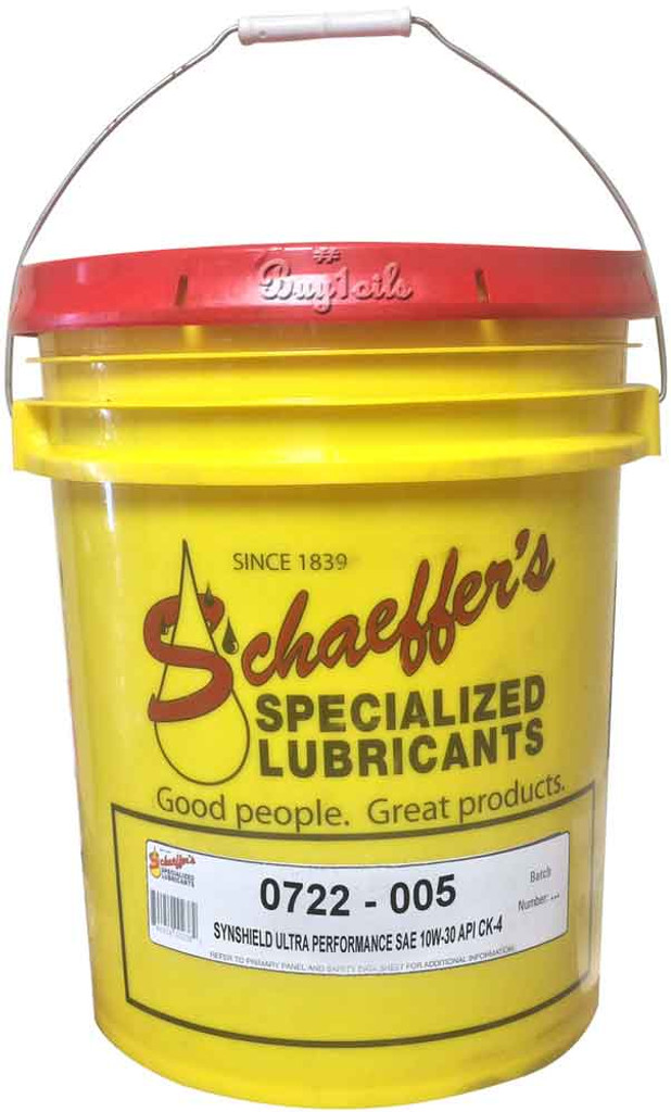Schaeffer's SynShield® 722 10W-30 CK-4 Ultra Performance is a premium advanced performance, synthetic plus, heavy-duty diesel engine oil formulated to provide maximum protection against wear, oxidation, deposit formation, soot contamination, and aeration. 5 gallons