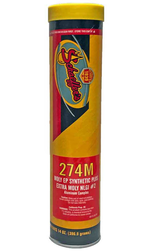 Schaeffer's Moly EP Synthetic Plus Grease Extra Moly 274M2 is an aluminum complex, para-synthetic, low tack grease with excellent low temperature pumpability characteristics. 1 tube