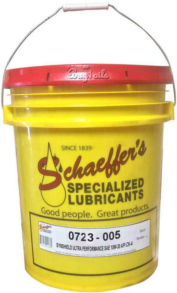 Schaeffer's SynShield® 723 5W-30 CK-4 Ultra Performance is a premium advanced performance, synthetic plus, heavy-duty diesel engine oil formulated to provide maximum protection against wear, oxidation, deposit formation, soot contamination, and aeration. 5 gallons