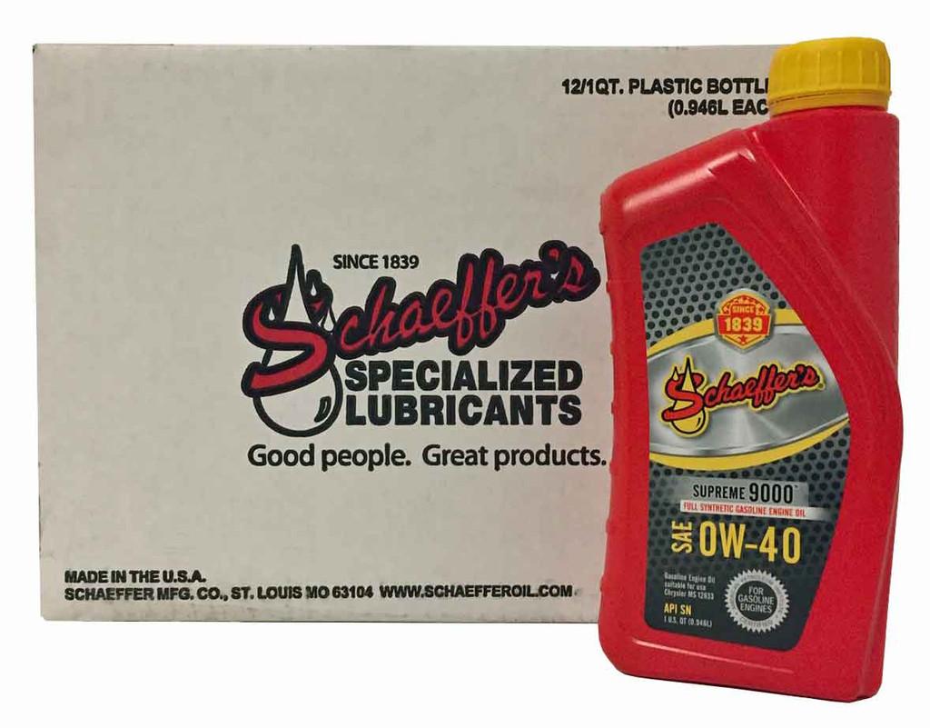 Schaeffer 9040-012 Supreme 9000 Full Synthetic Gasoline Engine Oil 0W-40 (12-Quarts)