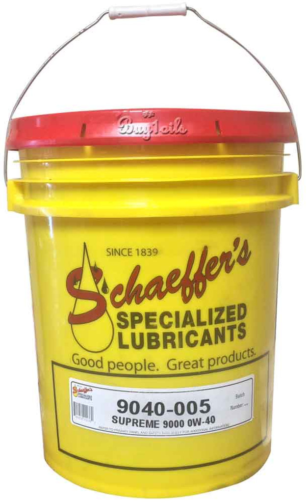 Schaeffer's 9040 Supreme 9000 Full Synthetic SAE 0W-40 is blended from a unique combination of select synthetic base fluids. 5 Gallons