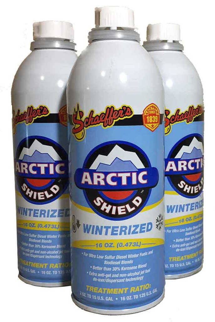 Schaeffer's 300ULSW Arctic Shield + Ultra Low Sulfur Concentrate is a highly concentrated ashless ultra low sulfur compliant diesel fuel additive that is specifically formulated to provide Ultra Low Sulfur Diesel Fuel maximum cold temperature protection. 3 PINTS