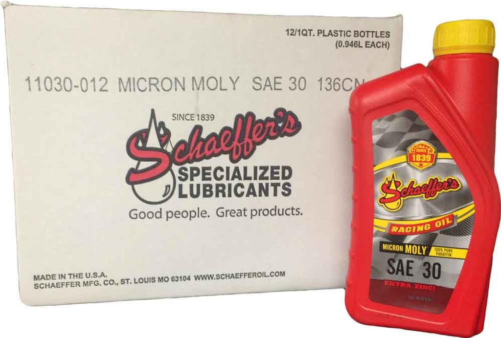 Schaeffer 011030-012 Micron Moly Racing Oil SAE 30 (12-Quarts)