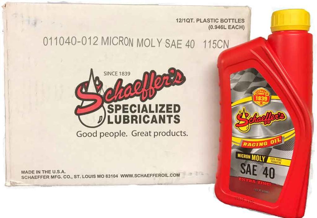 Schaeffer 011030-012 Micron Moly Racing Oil SAE 40  (12-Quarts)