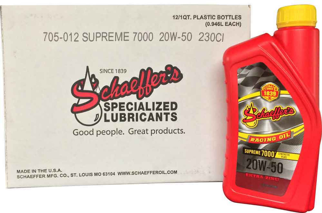 Schaeffer 0705-012 Supreme 7000 Synthetic Plus Racing Oil 20W-50 (12-Quarts)